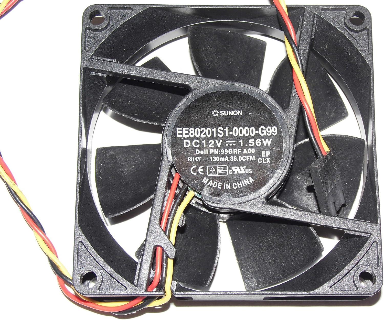 80x80x20mm EE80201S1-0000-G99 12V 130mA 1.56W 36.0CFM 3Wire 99GRF OptiPlex 390 790 990 3010 SFF PWM 8cm Case Fan