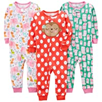 Baby Girl's and Toddler 3-Pack Snug Fit Footless Cotton Pajamas