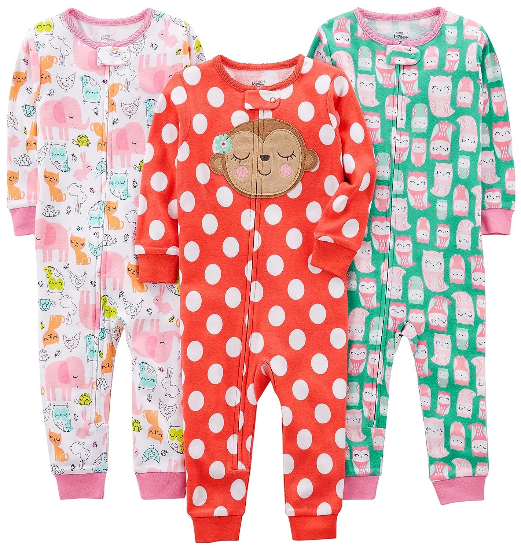 Simple Joys by Carter's baby-girls 3-Pack Snug Fit Footless Cotton Pajamas Pajama Set