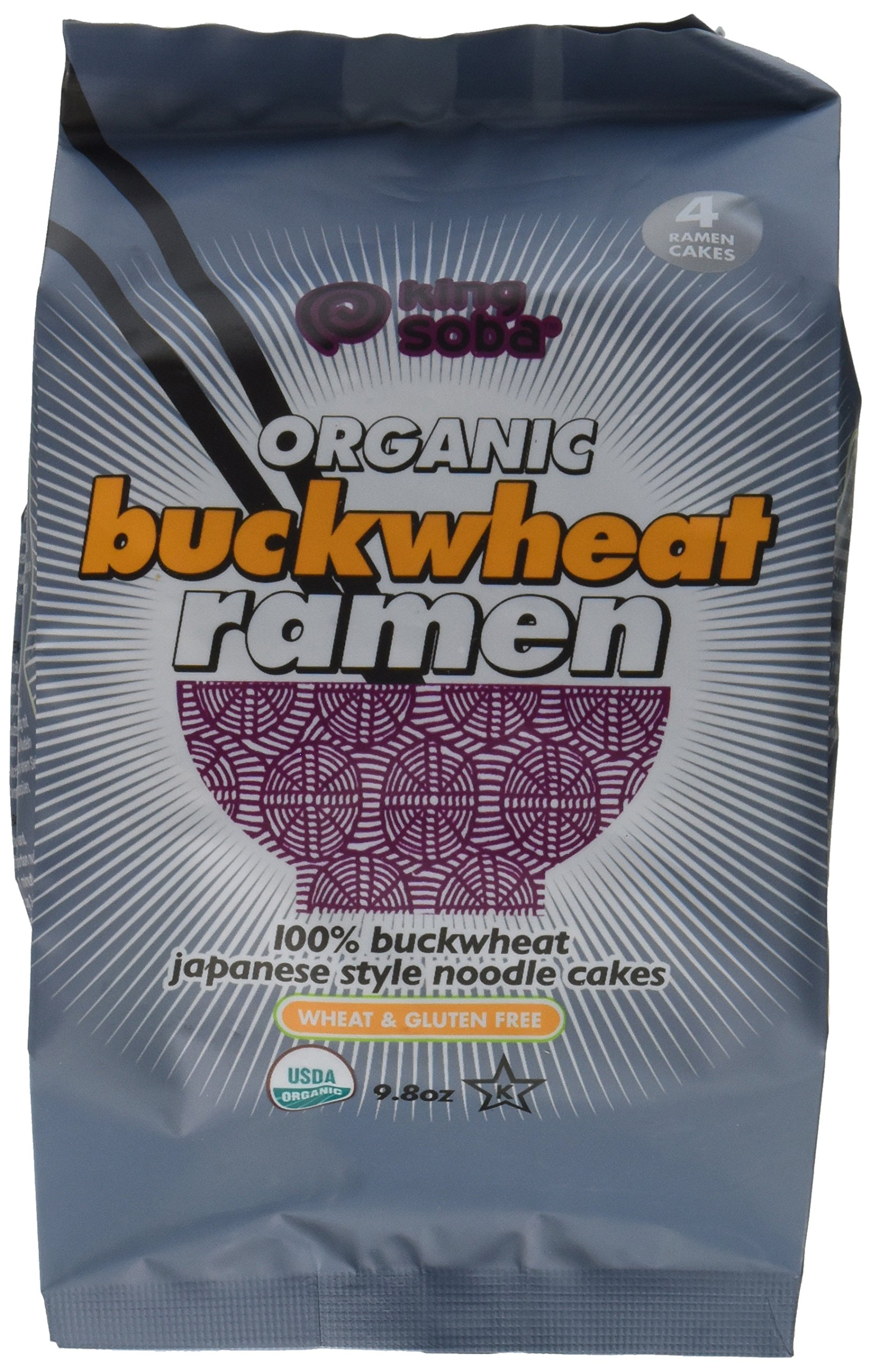 King Soba 3-PACK Gluten Free, Organic Buckwheat Ramen Noodles - 4 noodle cakes in each package