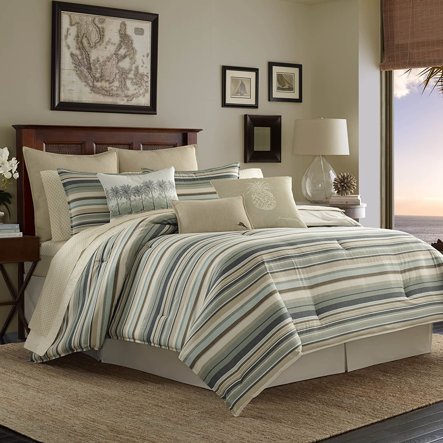 Tommy Bahama Canvas Stripe Comforter Set, Queen, Green Revman International 220203
