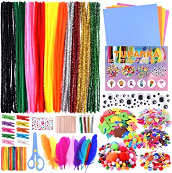 Amazon Com Tuparka Arts And Crafts Supplies Set Kids Diy Supplies Include Pipe Cleaners Pom Poms Craft Sticks Buttons Sequins For Craft Diy Art Supplies Arts Crafts Sewing