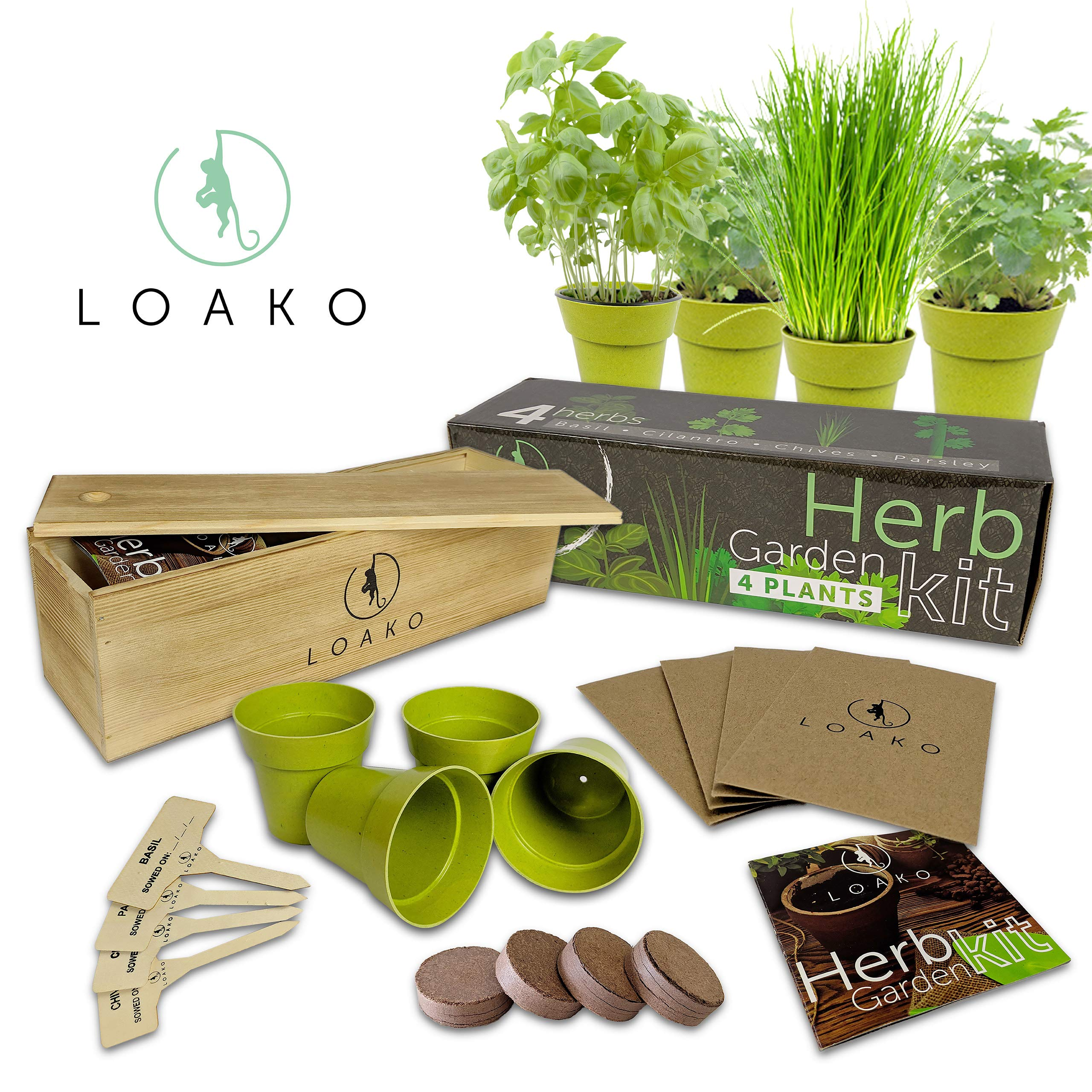 Herb Garden Kit. Includes Pots, Seeds, Soil Pellets, Markers, Instructions Booklet. Basil, Parsley, Cilantro, Chives. Great Gift Idea. Very Easy to Grow by Loako (Image #1)