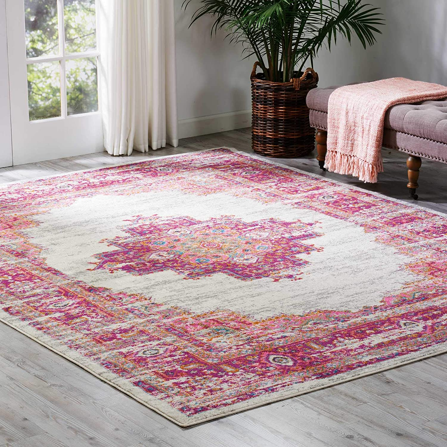 Nourison PSN03 Passion Traditional Bright Colorful Area Rug, 8' x 10', Ivory/Fushia