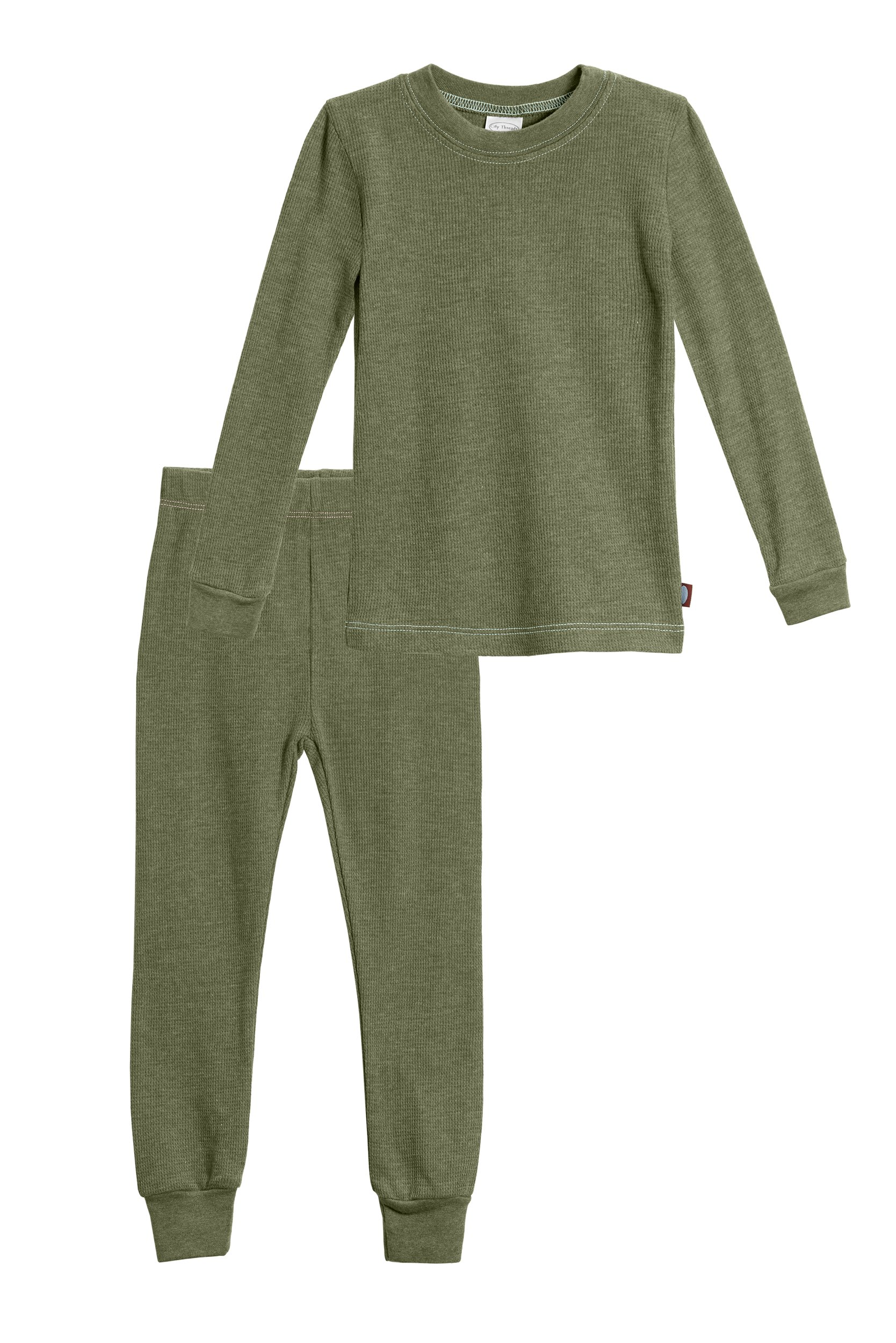 City Threads Little Boys Thermal Underwear Set Perfect For Sensitive Skin SPD Sensory Friendly, Olive, 3T by City Threads