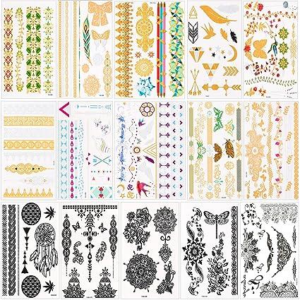 Tatuajes temporales para mujeres Niños y Niñas (15 hojas), Konsait ...
