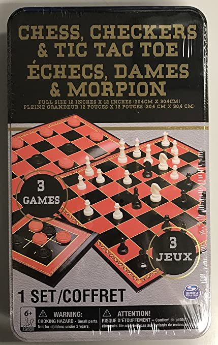 Chess Checkers Tic Tac Toe w Dual Sided Gameboard 3 Games  FREE SHIPPING