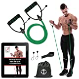 Anchor Workout Toning Heavy Fitness Tube Resistance Bands Cord for Exercise Fitness Pilates Strength Training Yoga Physio Crossfit with Foam Handles - Free Door Anchor and Carry bag. A Complete Home Gym