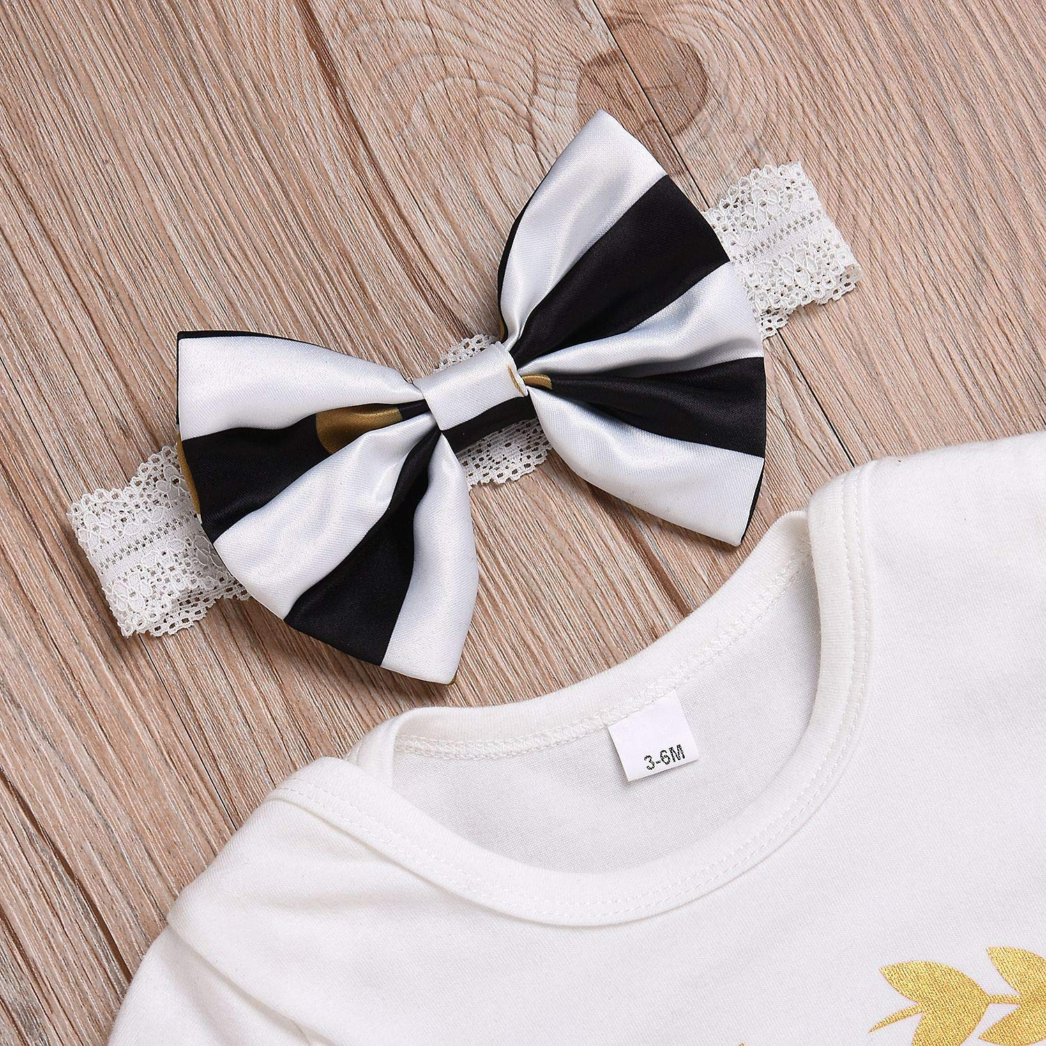 csdsfy Infant Baby Girl Clothes Little Sister Girl Letter Print Romper Floral Bloomers with Headband 3PCs Toddler Outfits Set