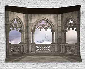 Ambesonne Gothic Decor Collection, Medieval Stone Balcony with Curvings Graphic Design Mystic Middle Age Legend Story Print, Bedroom Living Room Dorm Wall Hanging Tapestry, 80W X 60L Inch, Grey Purple
