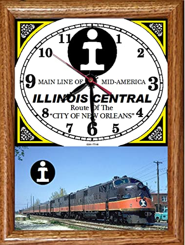 Illinois Central Railroad City of New Orleans Wood Framed Clock