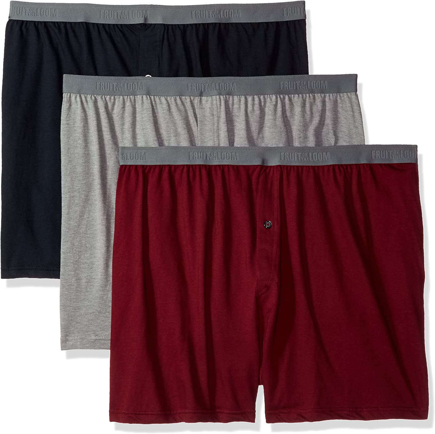 Fruit of the Loom Men's 3-Pack Premium Big Man Knit Boxer, assorted
