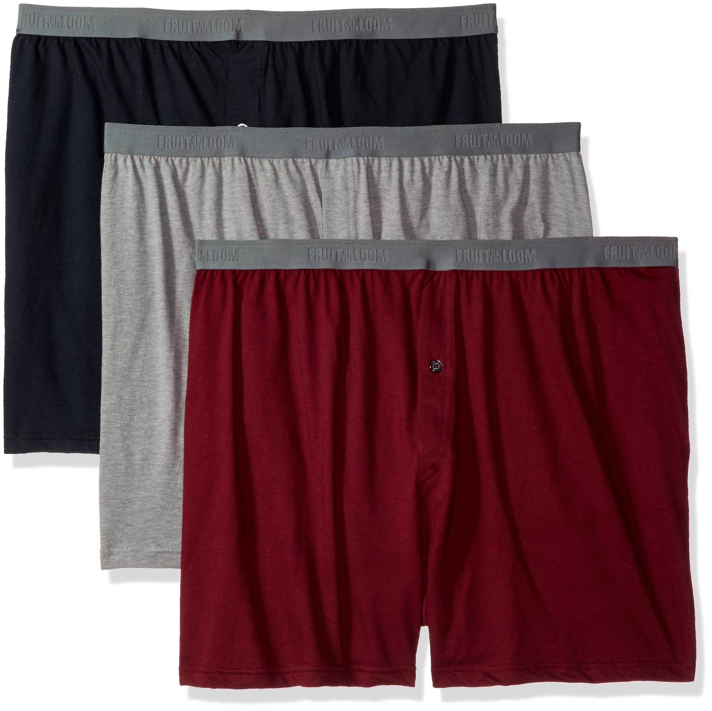 Fruit of the Loom Men's 3-Pack Premium Man Knit Boxer, Assorted, 4X-Large Big
