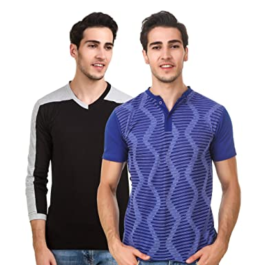 95e1f51c7 Image Unavailable. Image not available for. Colour: Sen Voler Solid Men's  Black V-neck & Royal Blue Henley T-Shirts combo