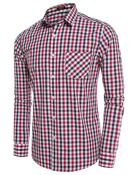 Coofandy Herren Hemd Kariert Freizeithemd Slim Fit hemd Baumwolle Kentkragen  (M, Weiß und Rot-1): Amazon.de: Bekleidung