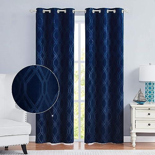 Nottingson Home Navy Blue Velvet Curtains 96″ Living Room Moroccan Pattern Room Darkening Panels Geometric Embossed Extra Long Drapes Window Treatments