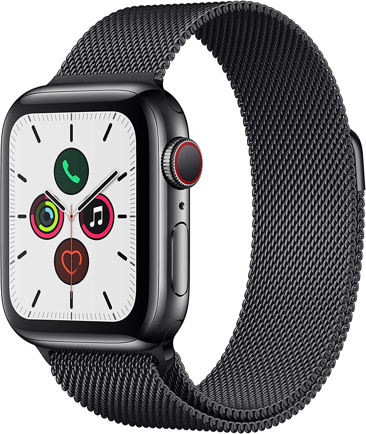 Apple Watch Series 5 (GPS + Cellular, 40 mm) Acero Inoxidable en Negro Espacial con Milanese Loop Negro Espacial