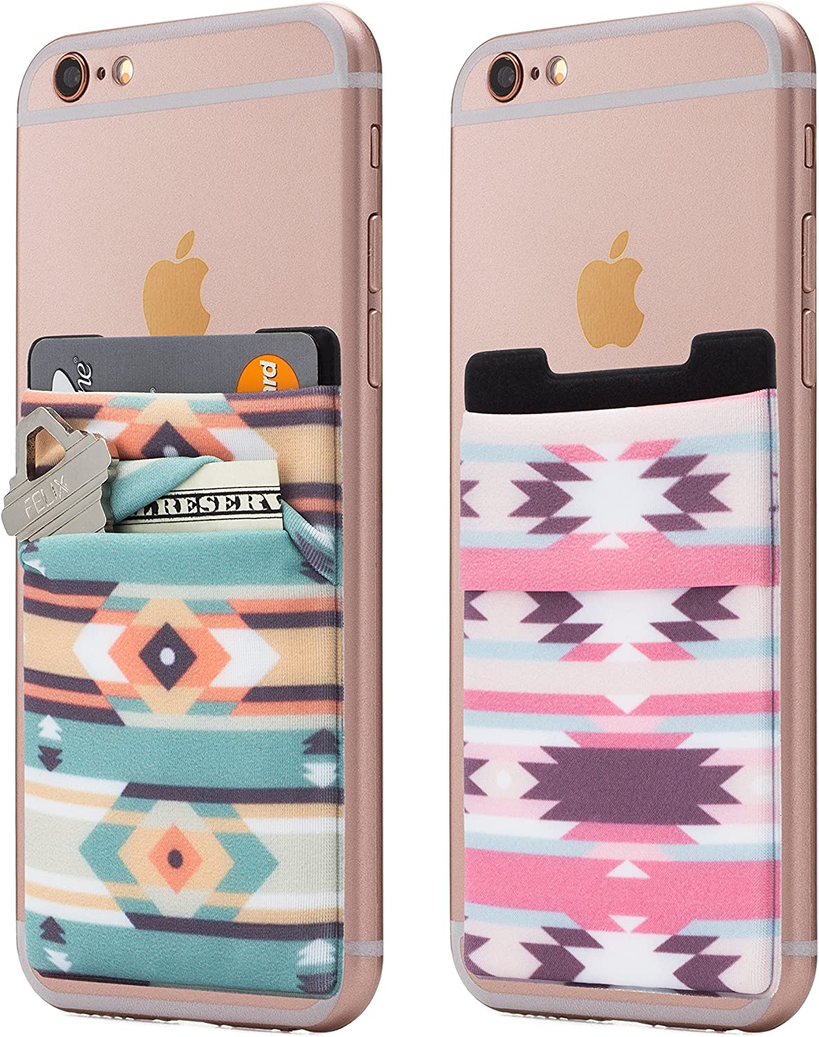 (Two) Stretchy Cell Phone Stick On Wallet Card Holder Phone Pocket for iPhone, Android and All Smartphones. (Aztec)
