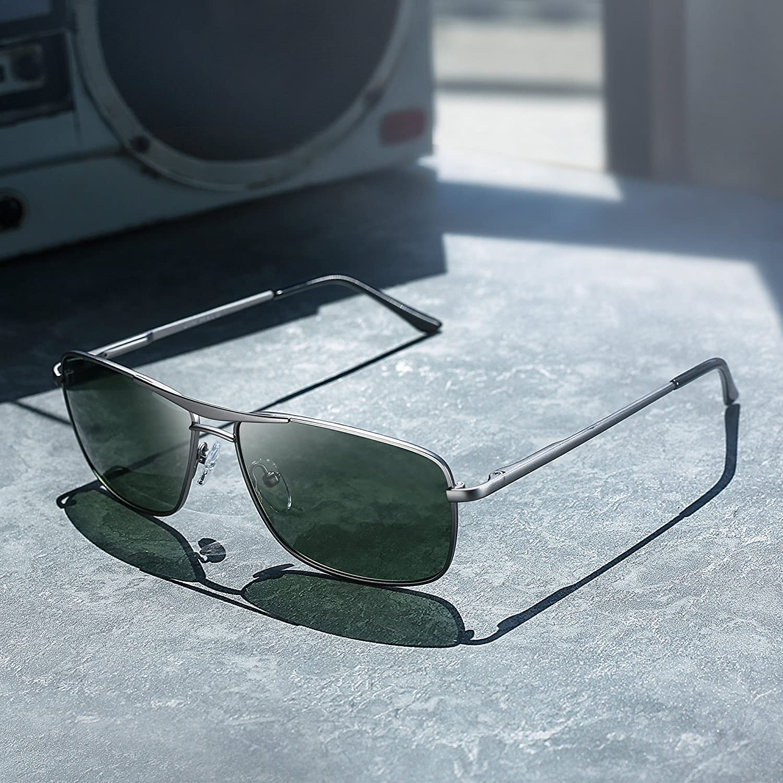 Jim Halo Gafas de Sol Polarizadas Rectangulares Conducir Marco Con Bisagras de Resorte Peso Ligero Hombre Mujer G15: Amazon.es: Ropa y accesorios