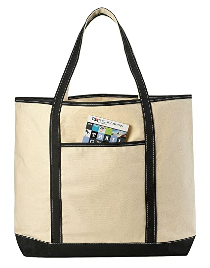 Canvas Tote Beach Bag - These Large Bags Are Strong Enough to Carry Beach  Gear and Wet Towels. Front Pocket dc1a717a67796