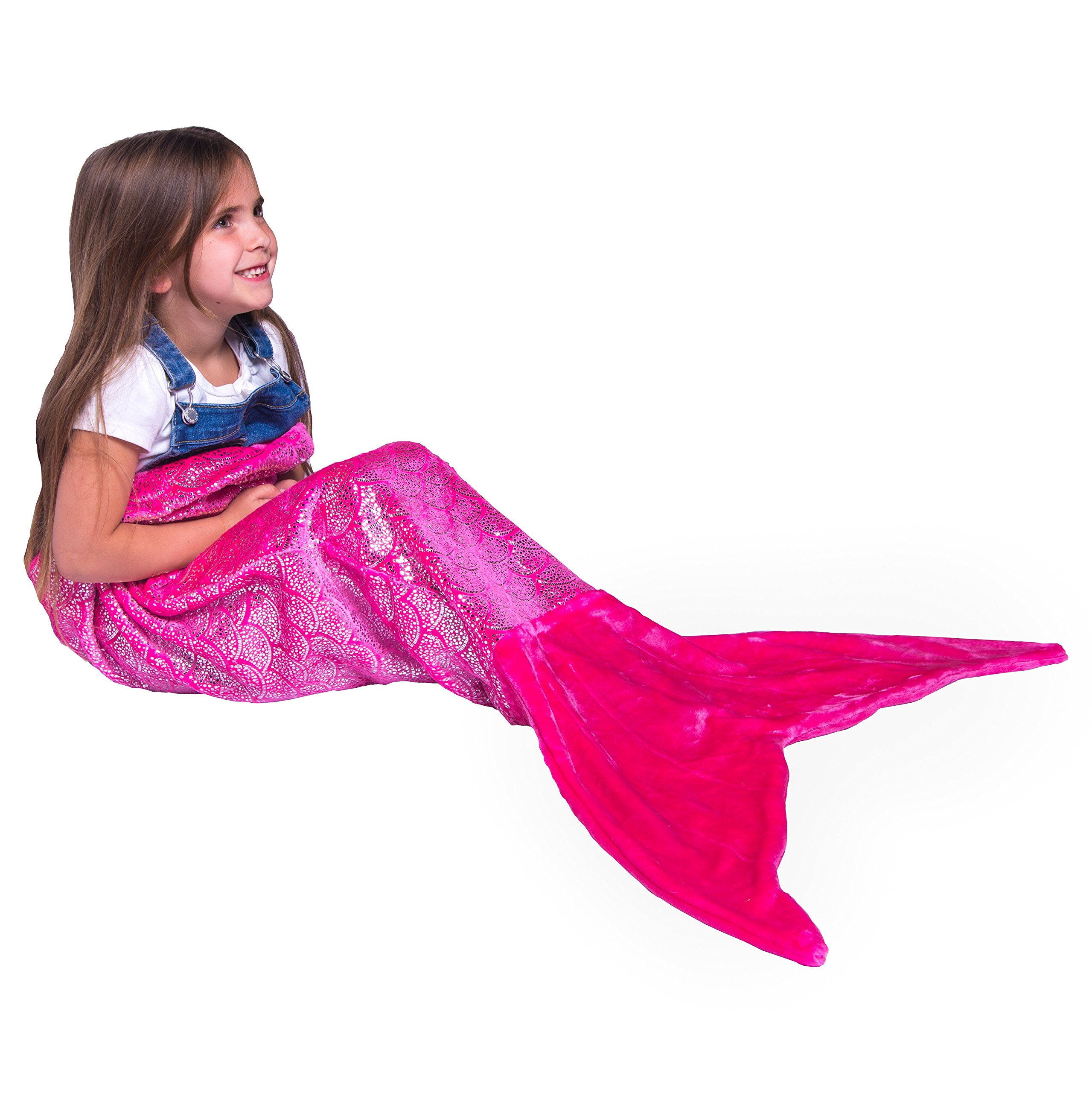 PixieCrush Mermaid Tail Blanket For Teenagers/Adults & Kids Thick, Plush Super Comfy Fleece Snuggle Blanket With Double Stitching, Keep Feet Warm (Small, Shiny Pink) by PixieCrush (Image #1)