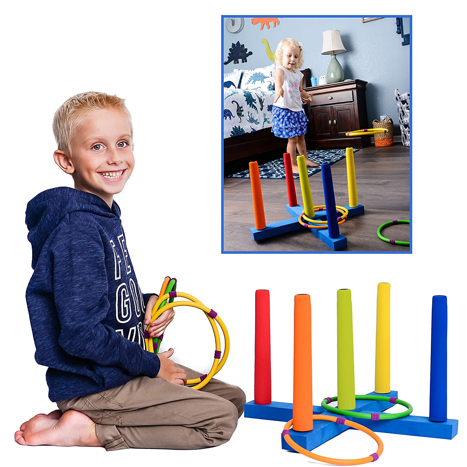Kiddie Play Ring Toss Game for Kids Hoopla Game with 6 Rings
