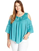 Democracy Women's Plus Size Elbow Angel Slv Cold Shoulder with Eyelash Embroidery