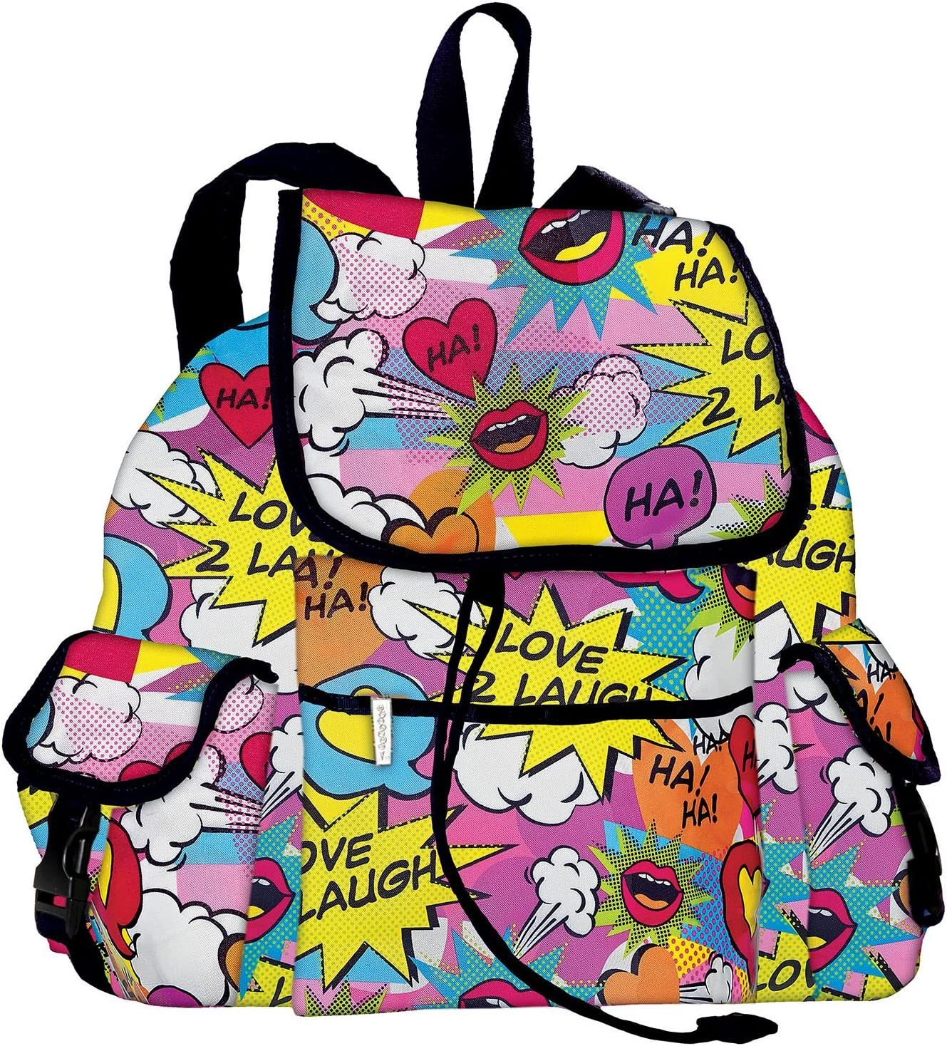 """iscream 'Love 2 Laugh' Deluxe Knapsack Style 16.5"""" x 13"""" Backpack for School and Travel"""