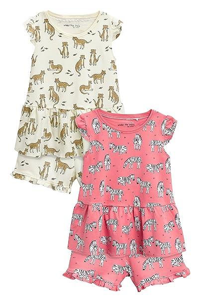next Niñas Pack De Dos Pijamas Cortos con Estampado Animal Y Detalle De Leopardo Brillante (