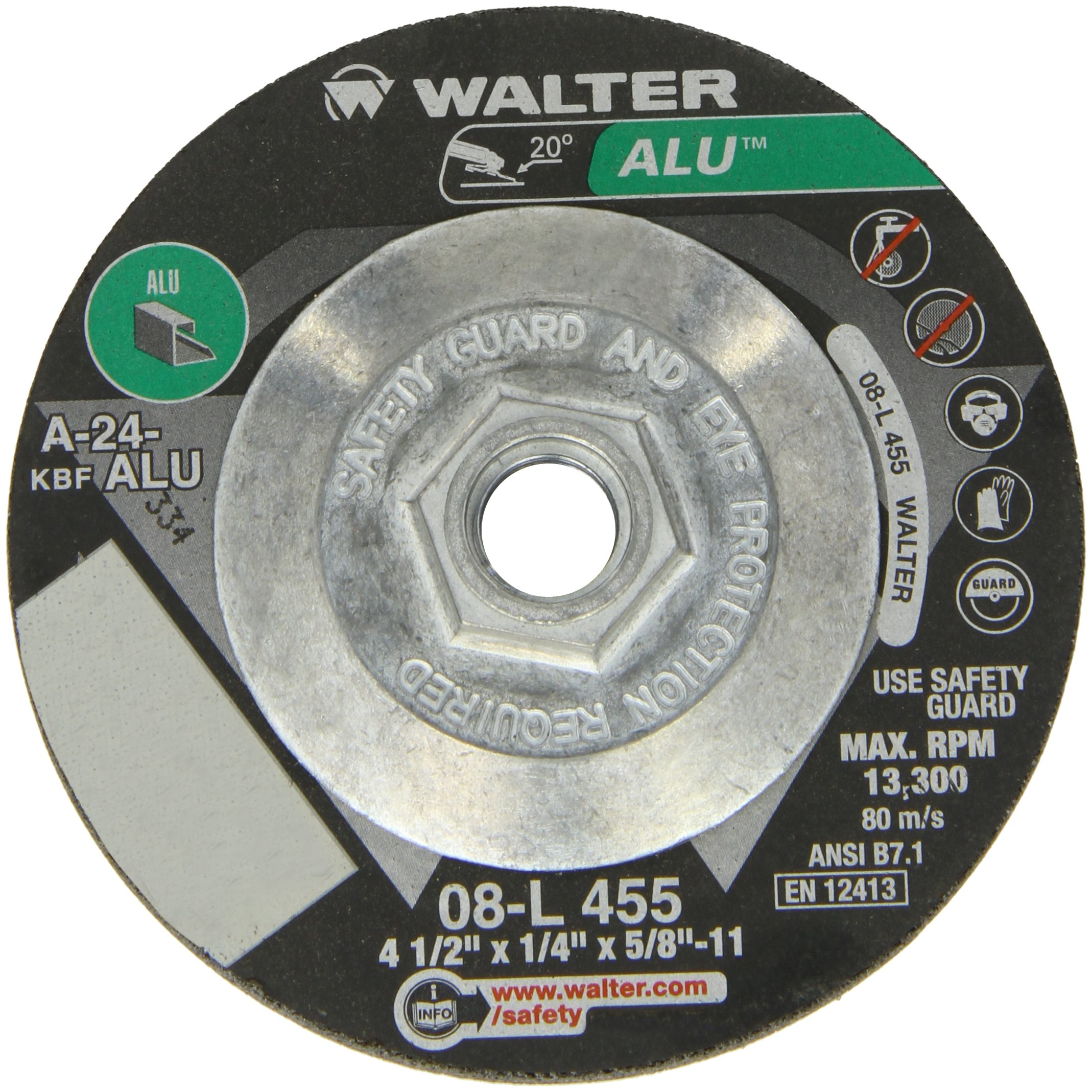 Walter Aluminum Performance Grinding and Cutting Wheel, Type 27, Threaded Hole, Aluminum Oxide, 4-1/2'' Diameter, 1/4'' Thick, 5/8''-11 Metal Arbor, Grit A-24-ALU (Pack of 10)