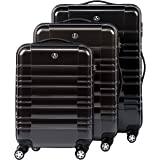 FERGÉ luggage set 3 piece hard shell trolley NICE suitcase set 4 twin spinner wheels grey