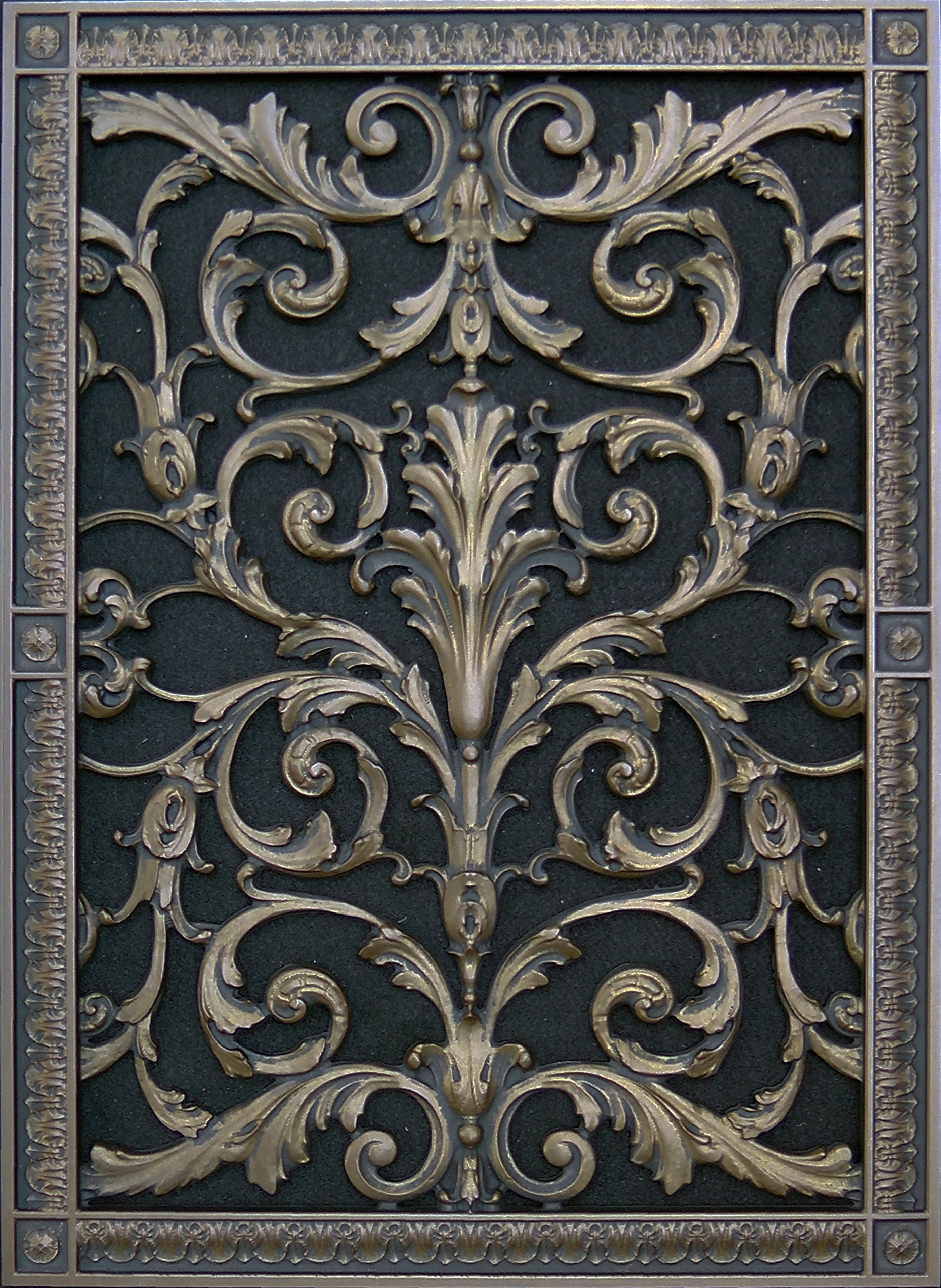 "Decorative Vent Cover, Grille, made of Urethane Resin in Louis XIV, French style fits over a 20""x 14"", Total size, 22"" by 16"", for wall & ceiling installation only. (not for floors) (Old Wood) by Beaux-Artes, Ltd."