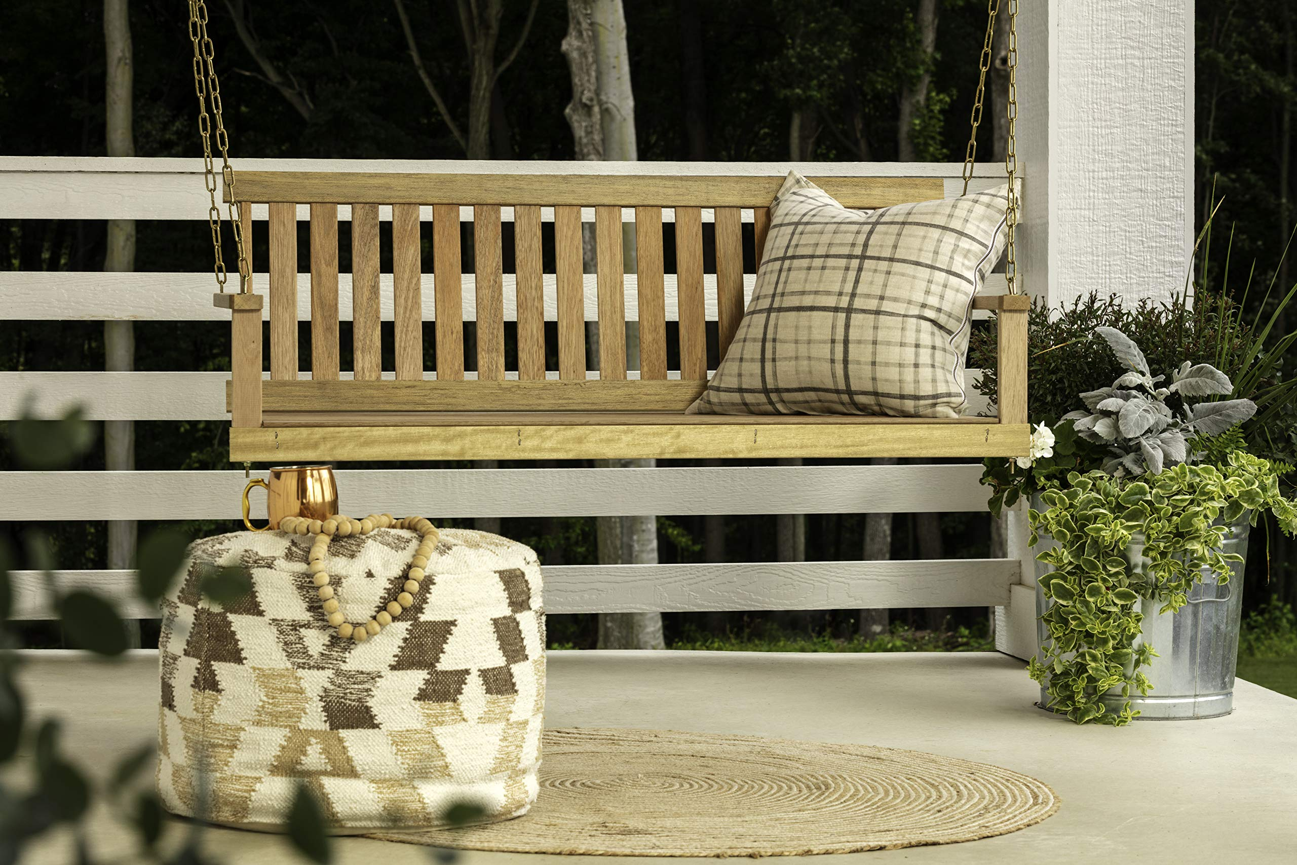 Jack Post Jennings Traditional 4-Foot Swing Seat with Chains in Unfinished hardwood by Jack Post