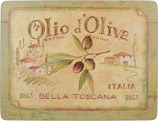 10.5 Creative Tops Olio D'Oliva Premium 6-Piece Set of Cork-Backed Coasters by