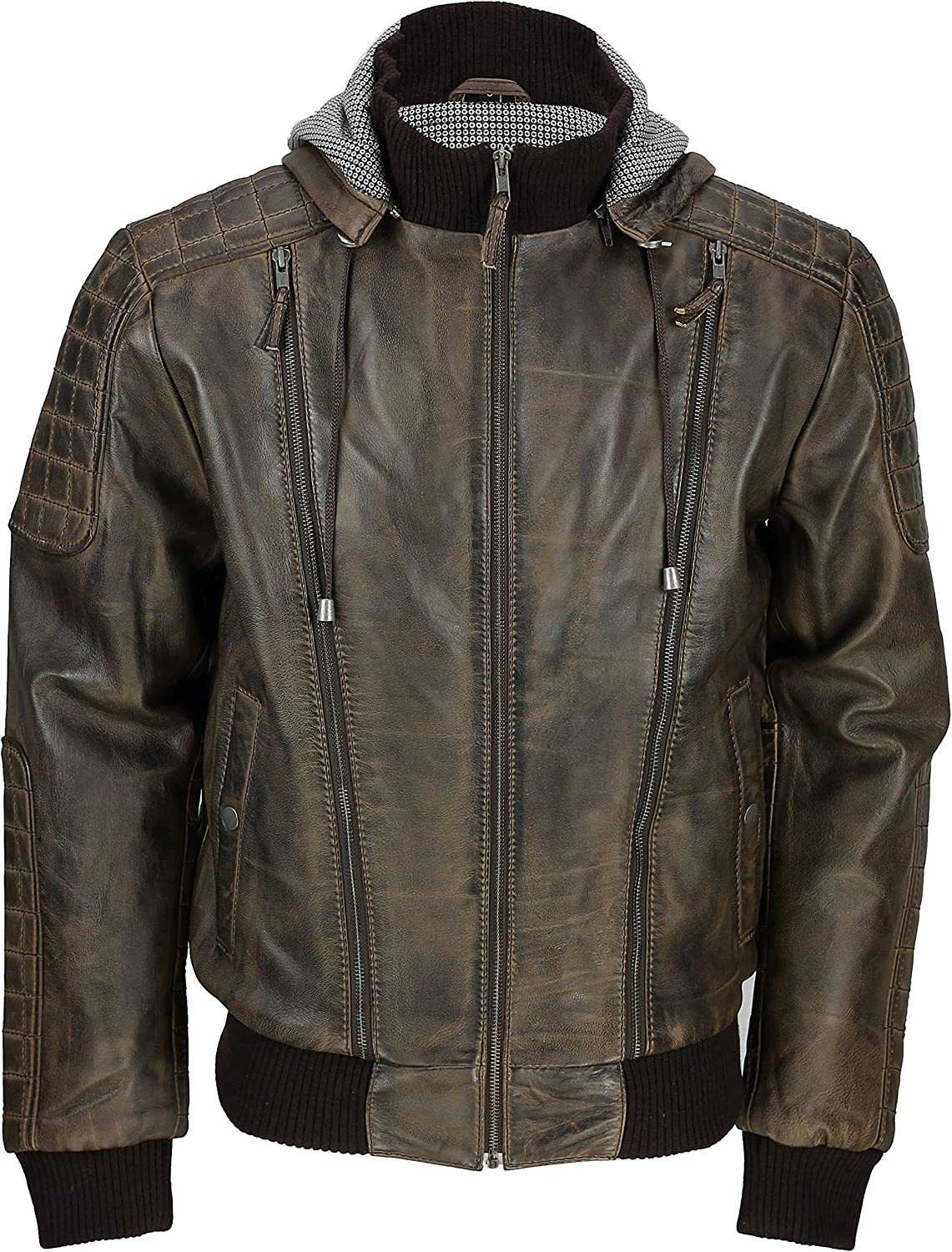Black Xposed Mens Vintage Real Leather Bomber Jacket Detachable Hood Biker Style in Washed Brown Tan