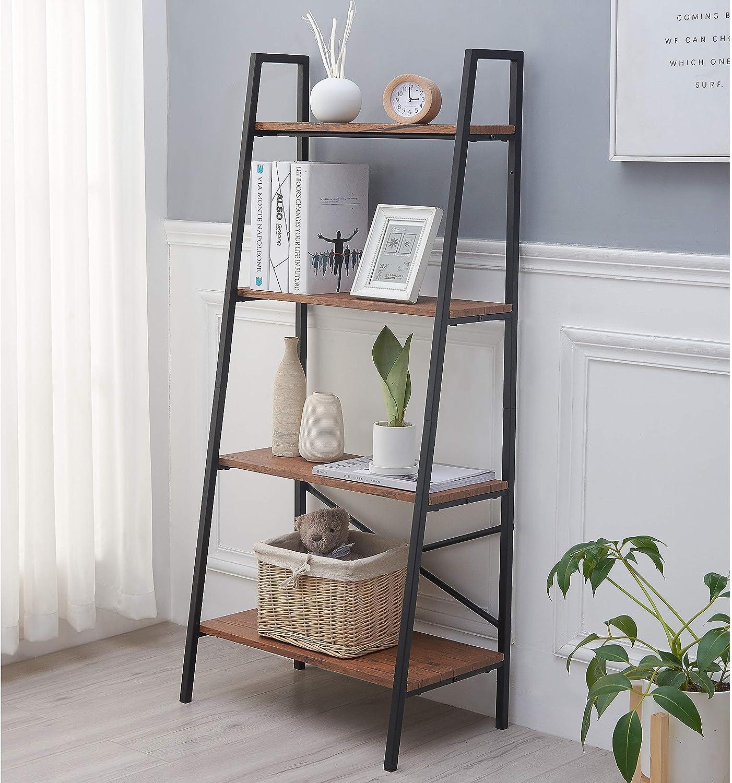 Amazon Com Blissun 4 Tiers Ladder Shelf Vintage Bookshelf Storage Rack Shelf For Office Bathroom Living Room Home Kitchen