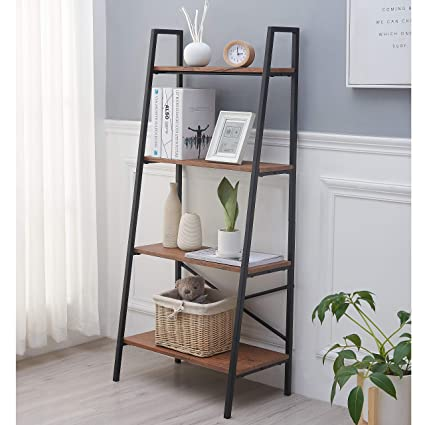 Enjoyable Blissun 4 Tiers Ladder Shelf Vintage Bookshelf Storage Rack Shelf For Office Bathroom Living Room Beutiful Home Inspiration Truamahrainfo