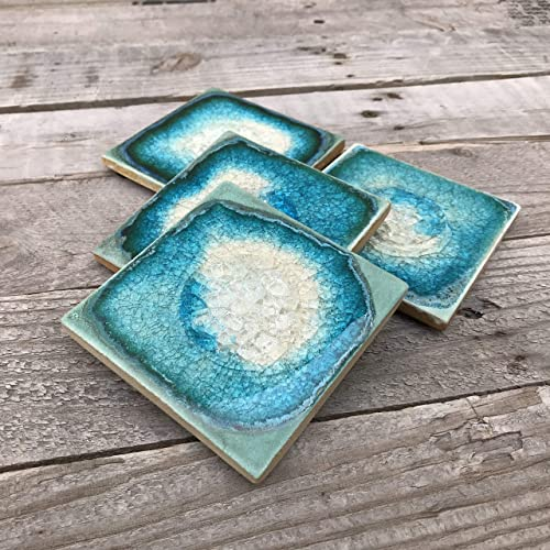 Geode Crackle Coaster Set of 4 in Turquoise Dock 6 Pottery Coaster Crackle Glass Coaster Ceramic Coaster Fused Glass Coaster Agate Coaster Crackle Coaster Geode Coaster