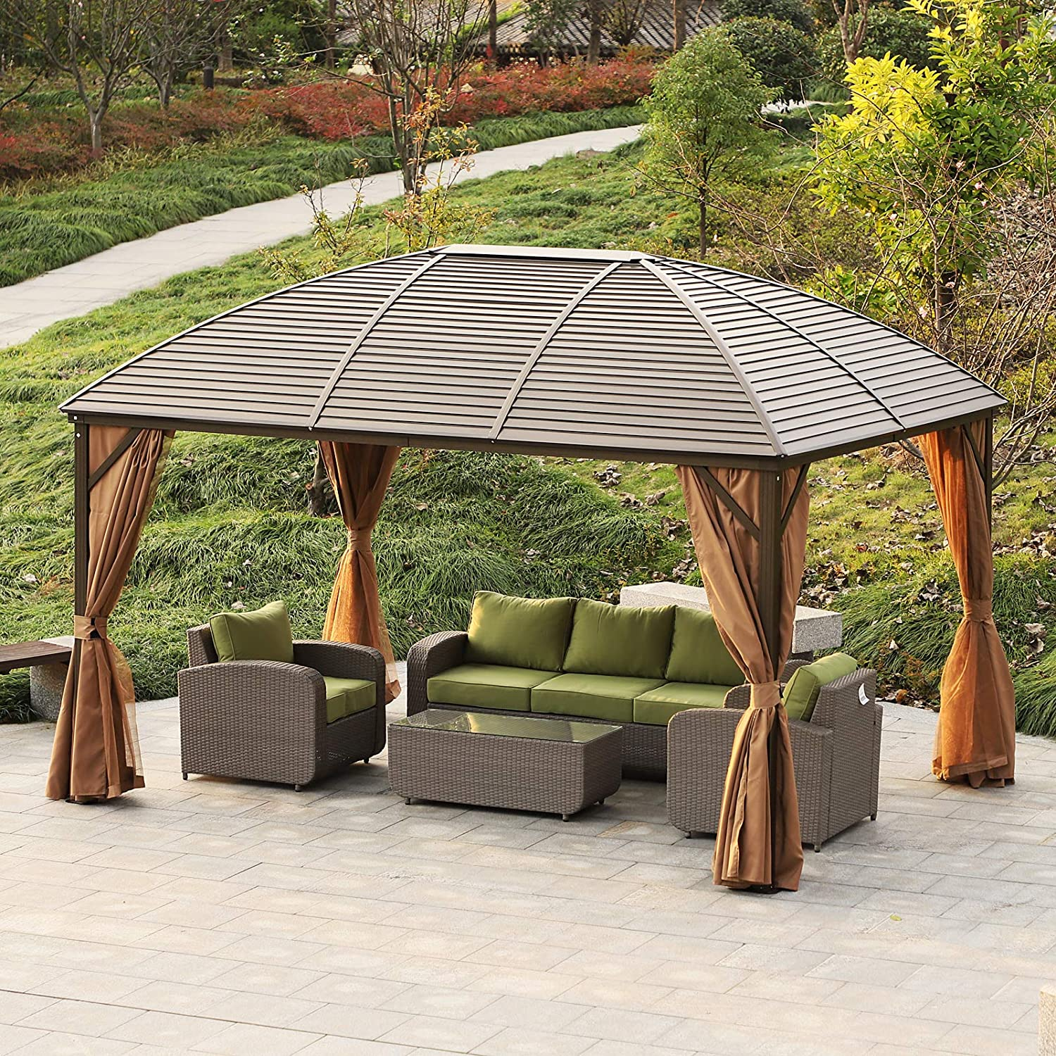 Outsunny – Carpa de jardín, Carpa para Fiestas, Carpa Plegable, 4 ...