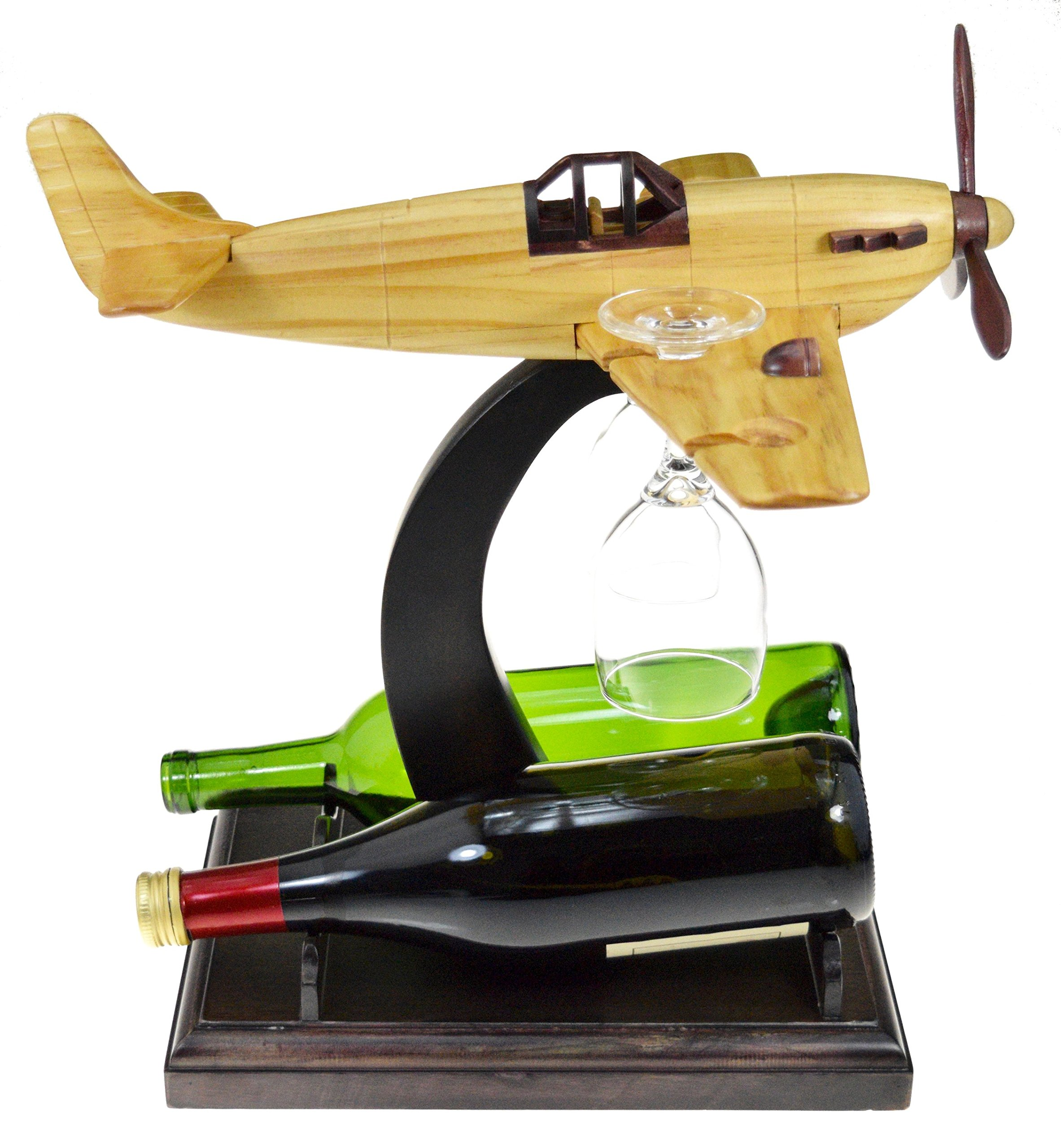 Airplane Shaped Wine Glass Rack and Wine Bottle Rack - Aviation Enthusiast, Tabletop Wooden Plane Wine Glass Hanger and Bottle Holder - Great Gift for Pilot (The Vino Hangar) by PrestigeHaus