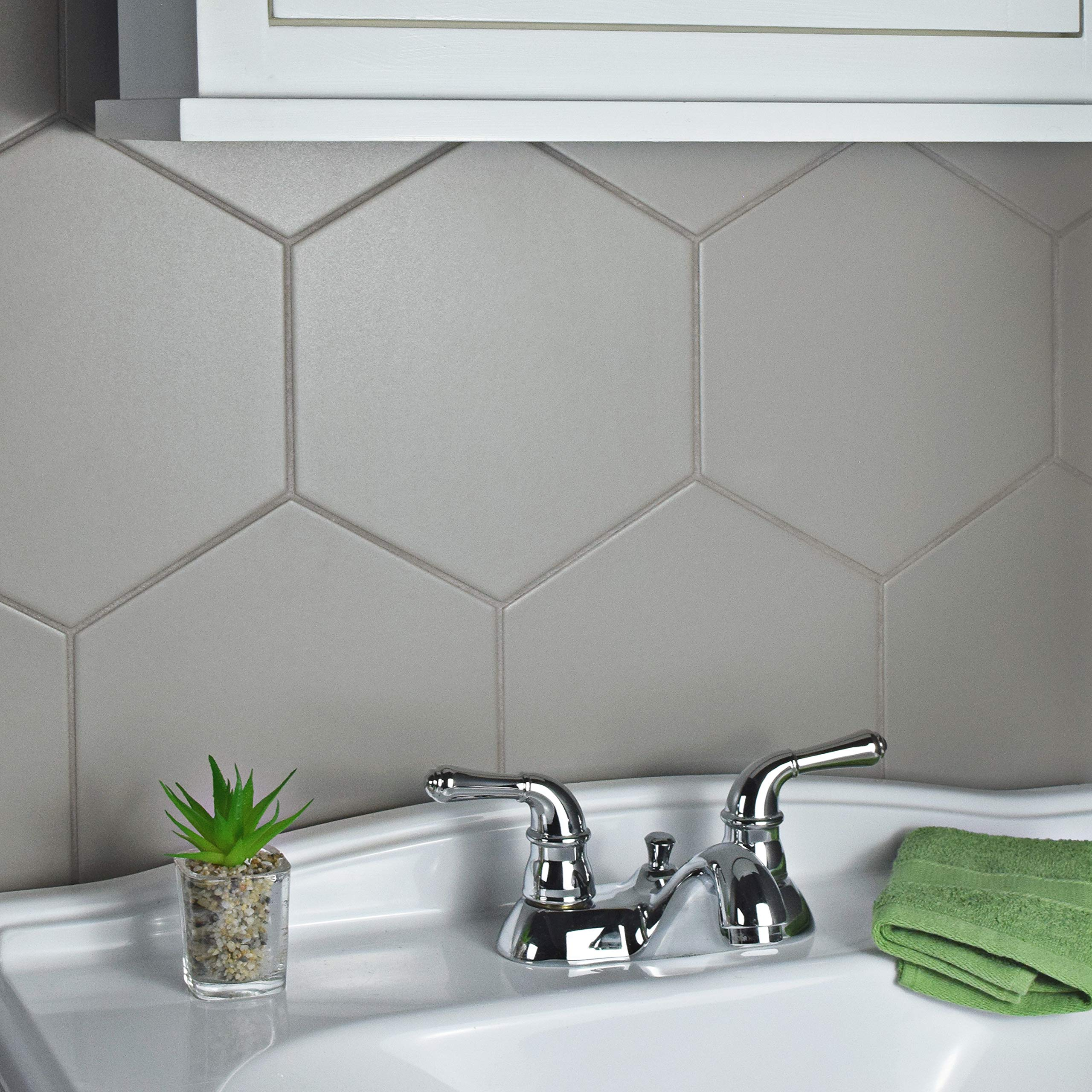 SomerTile FCD10STX Abrique Hex Porcelain Floor and Wall, 8.63'' x 9.88'', Silver Tile 8.625'' x 9.875'' 25 Piece by SOMERTILE (Image #9)