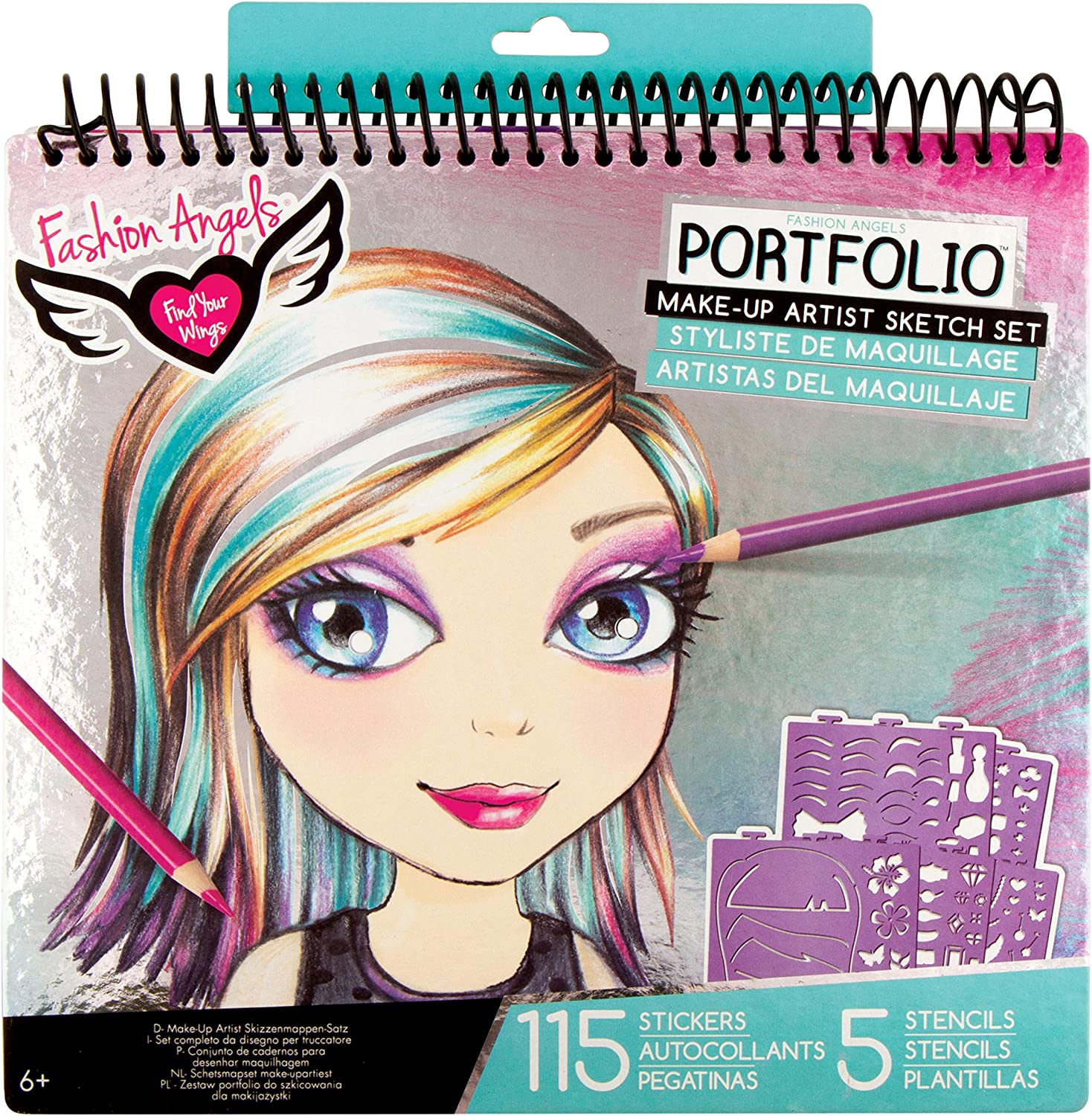 Amazon Com Fashion Angels Make Up Hair Design Sketch Portfolio Toys Games