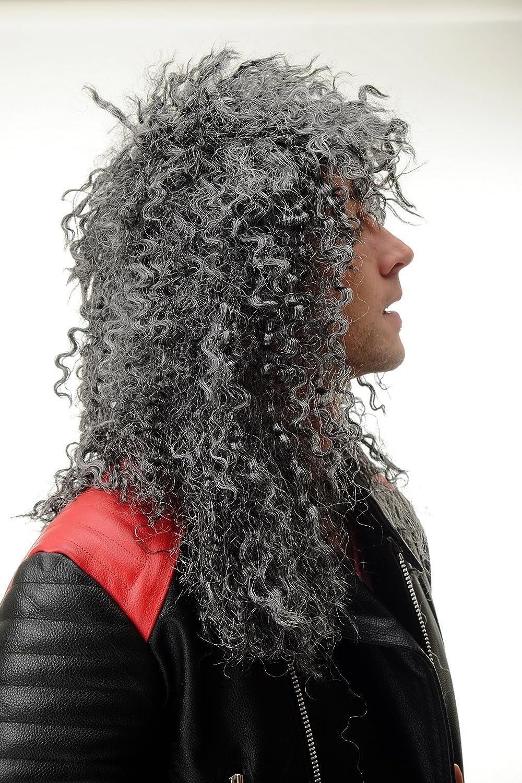 BW563-P103MPC309 Parrucca Carnevale Grigio Melange Uomo Donna Unisex Ricci Capigliatura arruffata Lunga Hardrock Heavy Metal Chioma 55 cm WIG ME UP /®