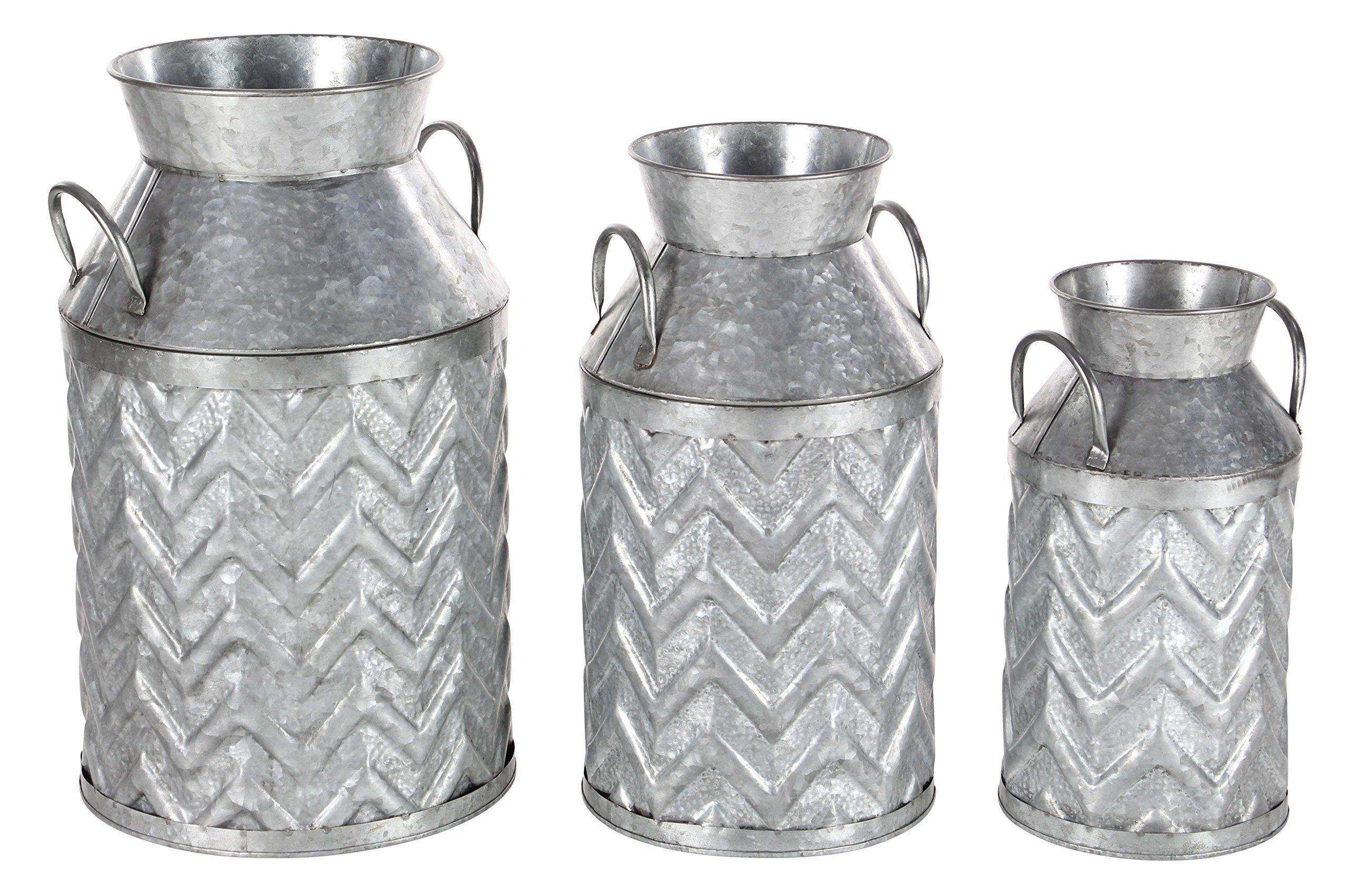 Deco 79 98146 Decorative Iron Milk Jugs (Set of 3), 13'' x 17'' x 18'', Gray