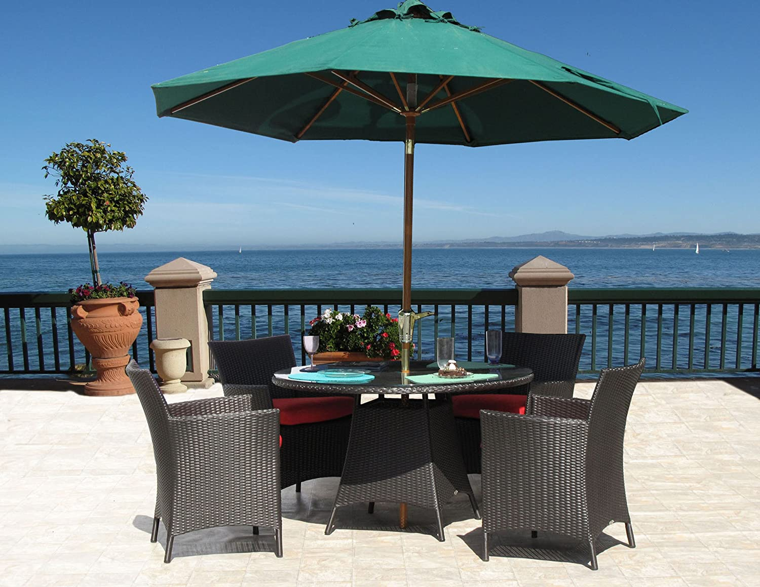 Amazon.com : Hudson Outdoor Resin Wicker 5 PC Dining Set Sunbrella Cushions  (12 Fabric Choices) Assembled With Warranty : Outdoor And Patio Furniture  Sets ...