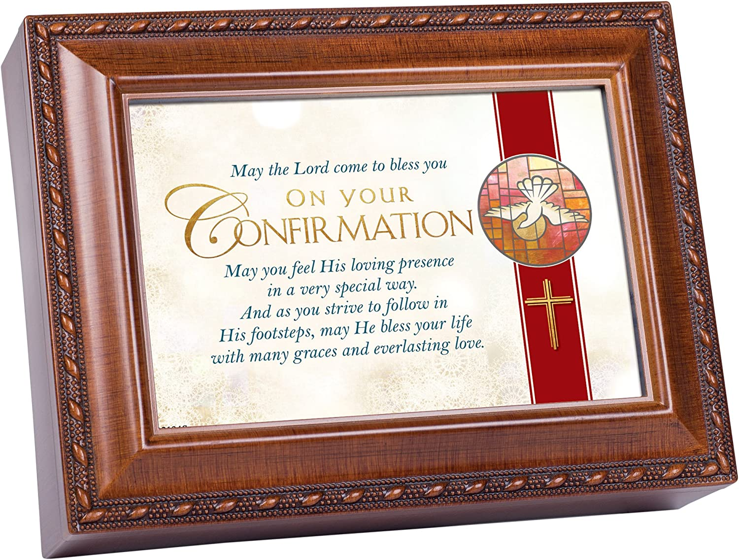 Cottage Garden Bless You On Your Confirmation Woodgrain Keepsake Music Box Plays On Eagle's Wings