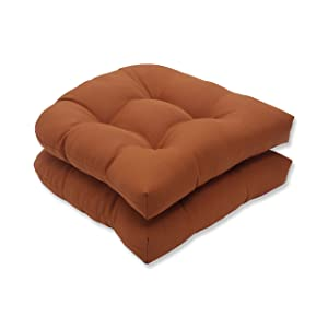 Pillow Perfect Indoor/Outdoor Cinnabar Wicker Seat Cushion, Burnt Orange, Set of 2