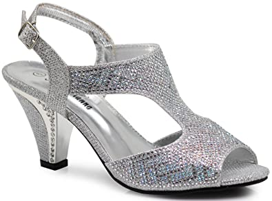 a7823ec351a Enzo Romeo kinmi36 Womens Open Toe Mid Heel Wedding Rhinestone Gladiator Open  Toe Mesh Sandal Wedge