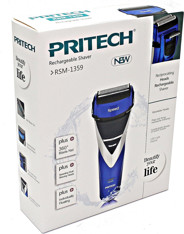 Pritech - Afeitadora eléctrica (doble rejilla, resistente al agua ...