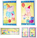 """Peppa Pig  Birthday Party Scene Setters  Wall Decorating Kit, Plastic, 59"""" x 65"""", Pack of 5"""